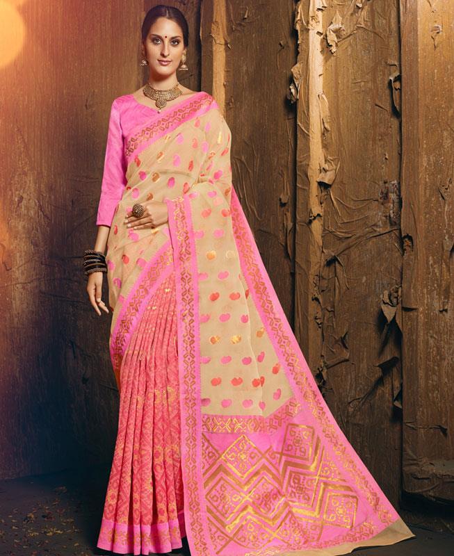 Woven Silk Saree in Cream
