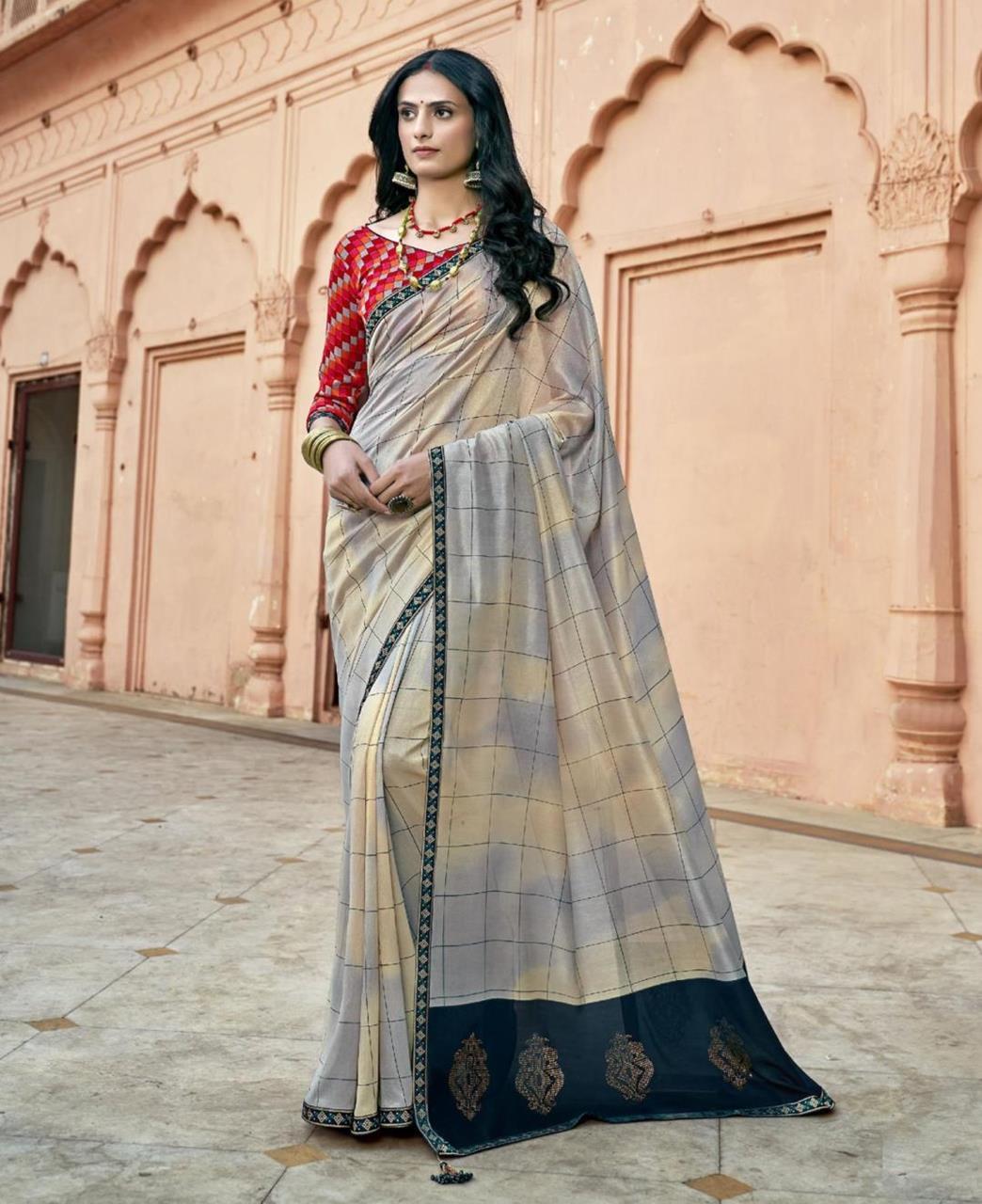 HandWorked Silk Saree in Gray