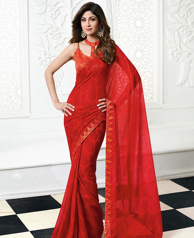 Printed Chiffon Saree in Red