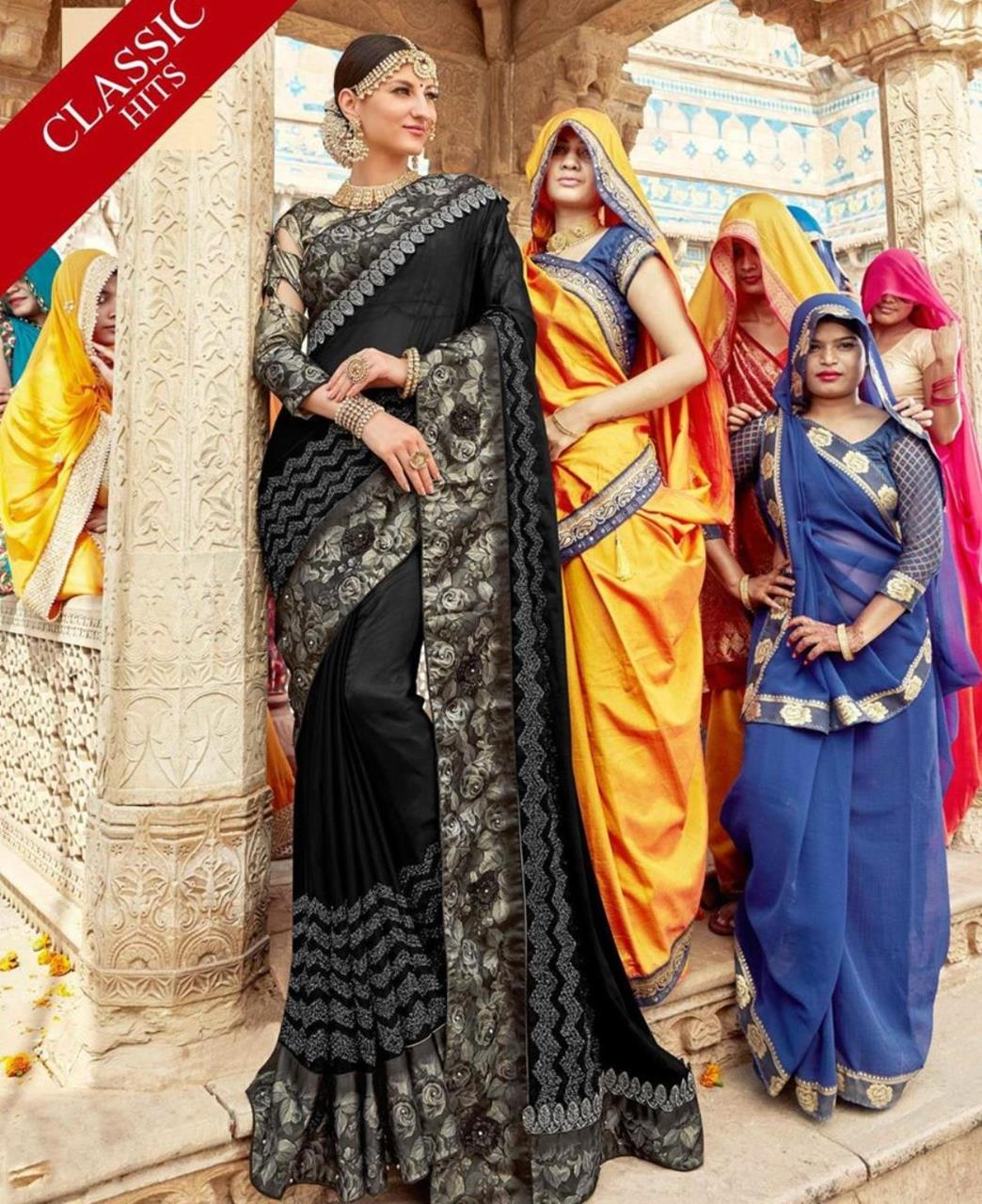 Border Work Georgette Saree (Sari) in Black