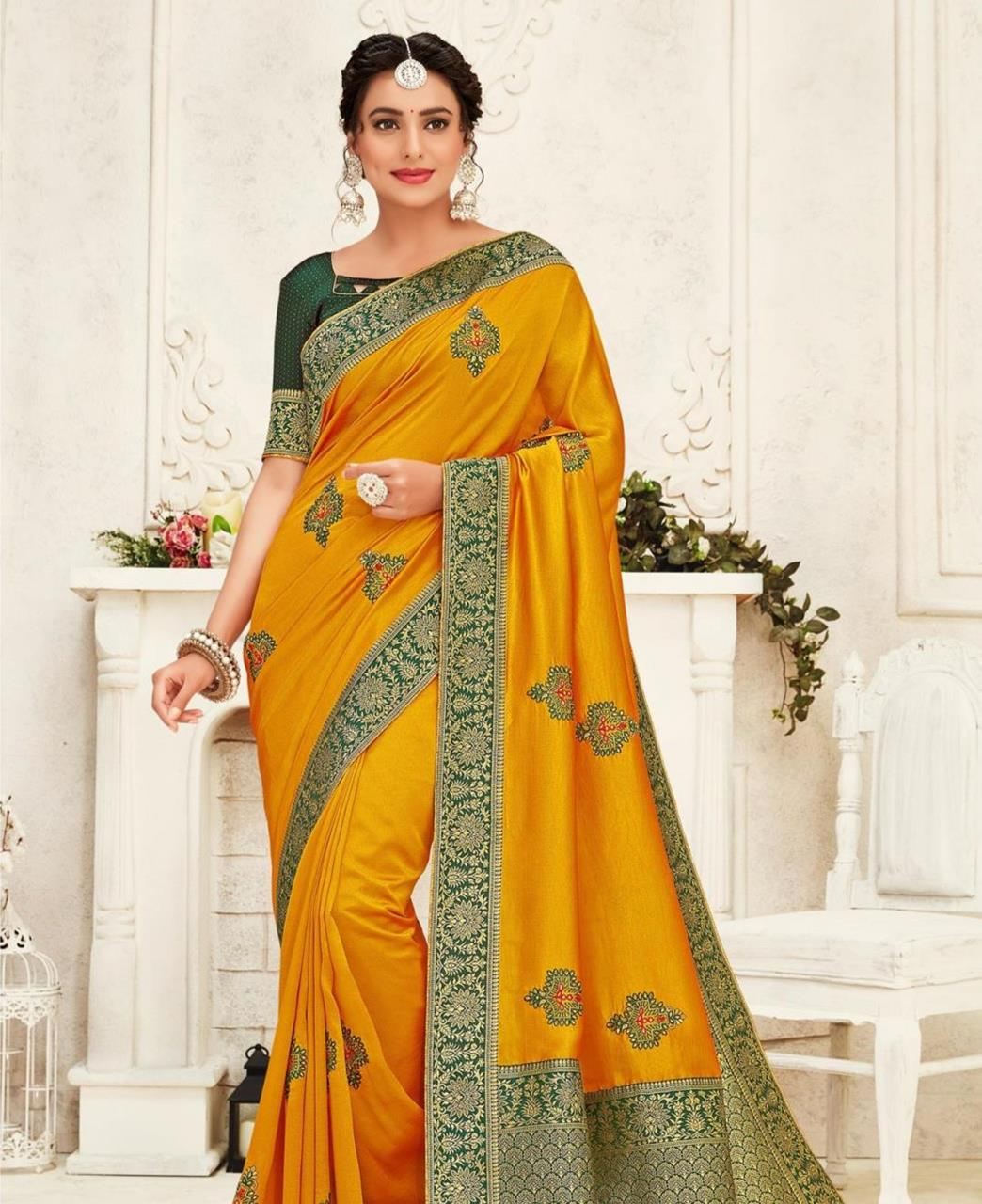 Stone Work Silk Saree in Yellow