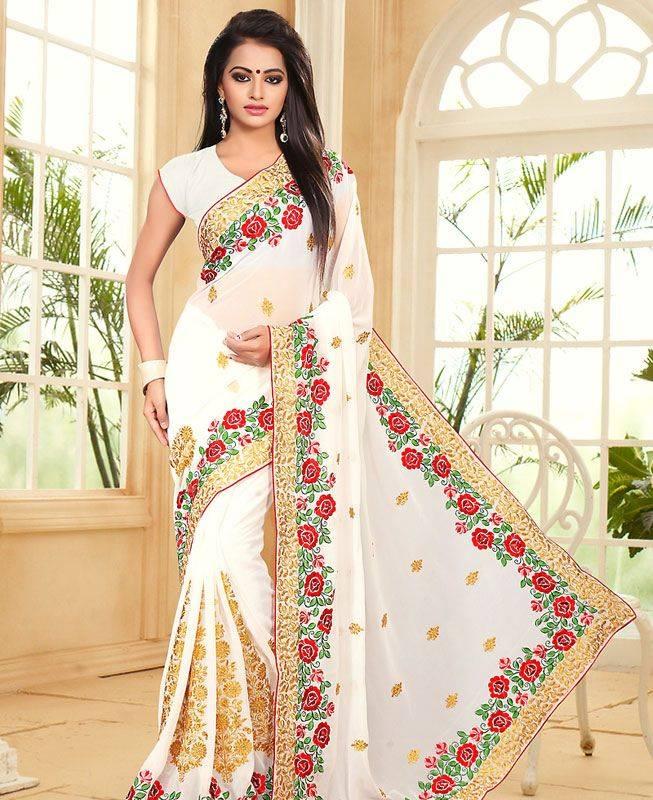 Embroidered Georgette Saree (Sari) in White
