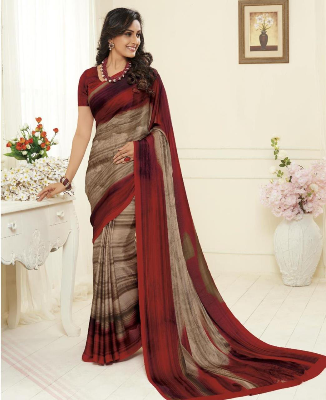 Printed Georgette Saree in Yellow  ,  Red