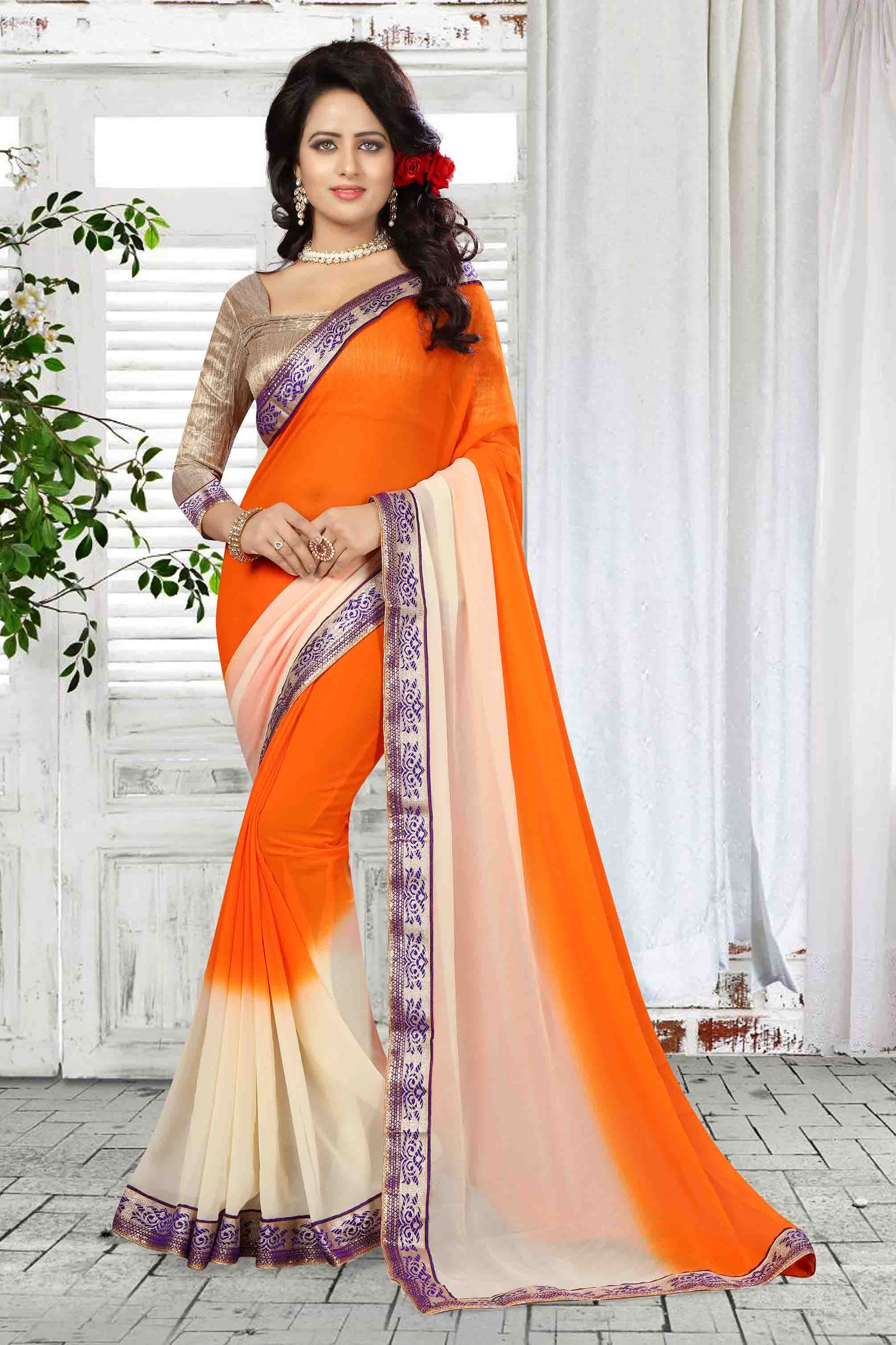 Border Work Georgette Saree (sari) in Orange