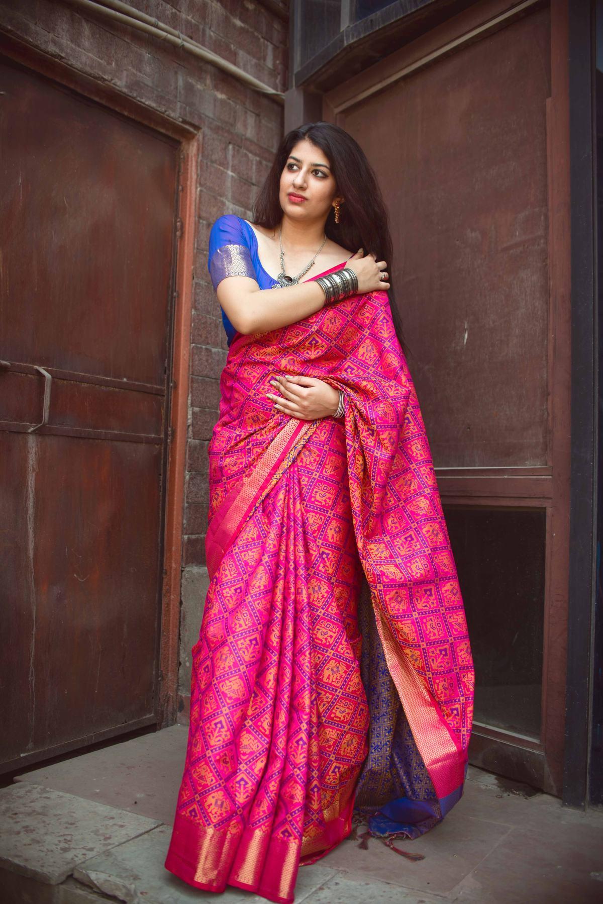 Woven Silk Saree (Sari) in Pink
