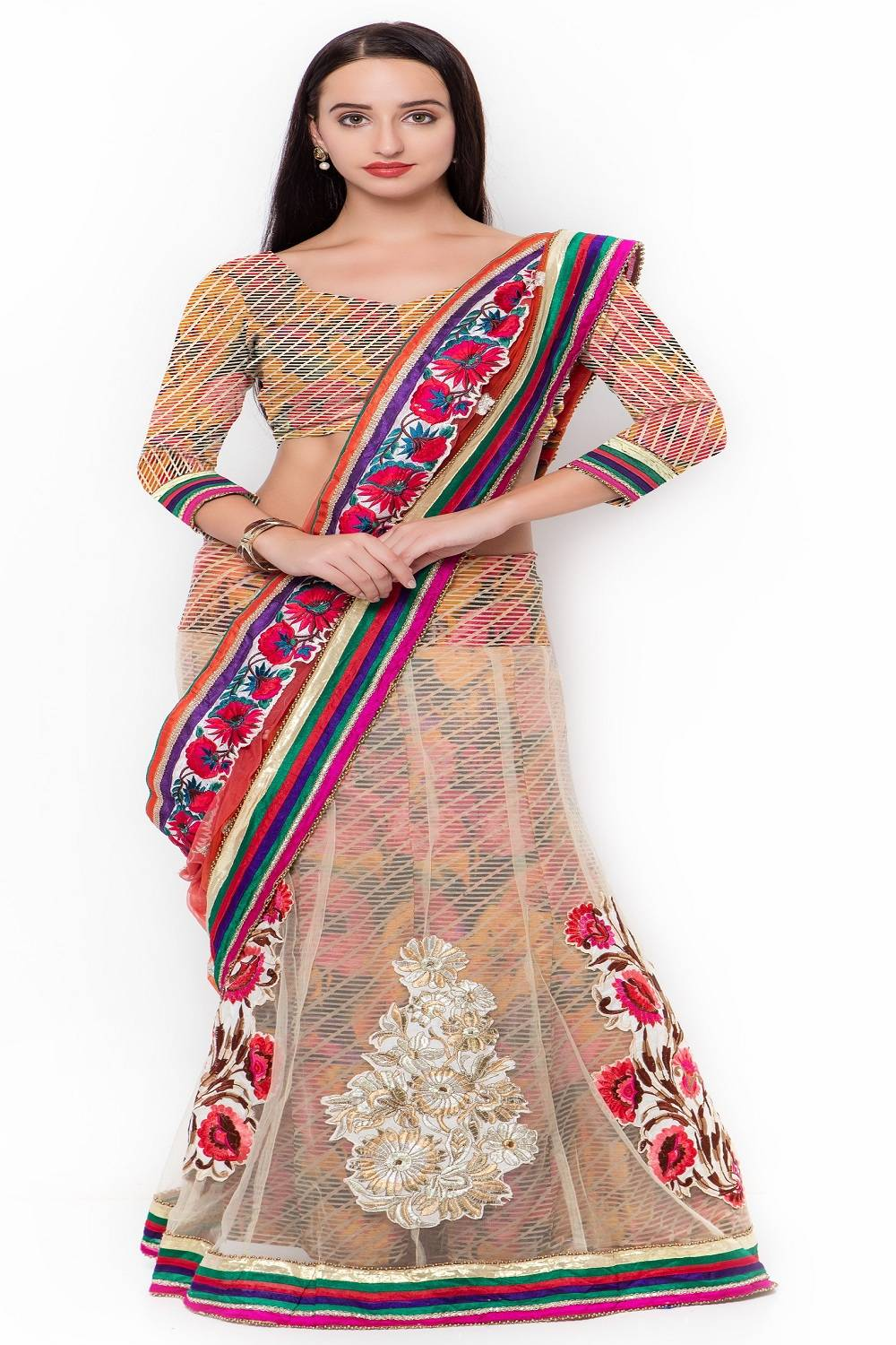Embroidered Brasso Saree (Sari) in Red