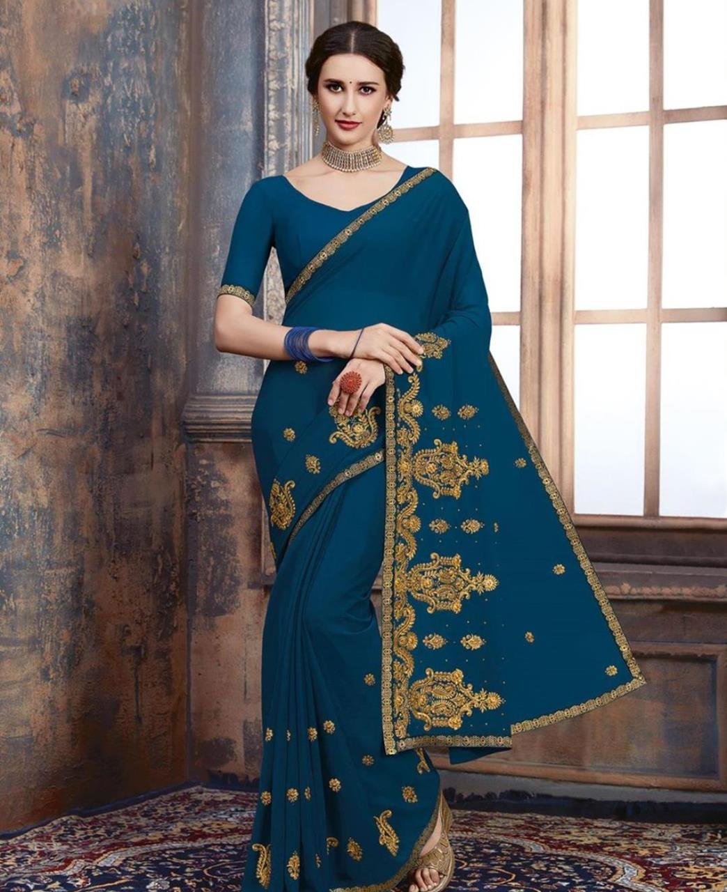 Stone Work Georgette Saree in Blue