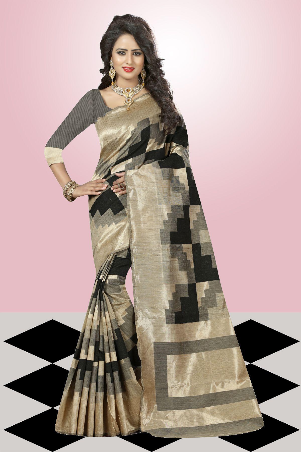 Printed Art Silk Saree in Black