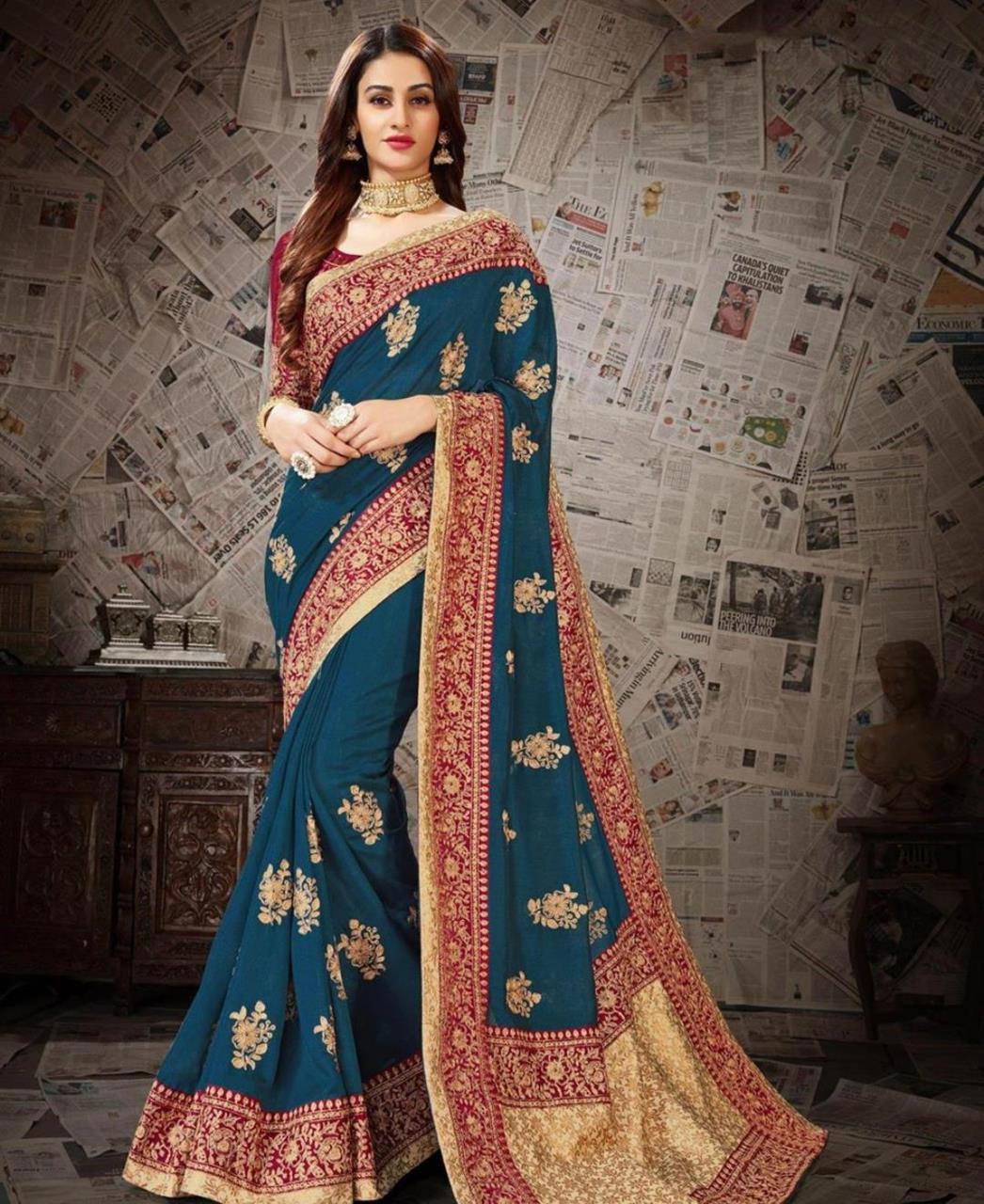Embroidered Art Silk Saree (Sari) in DARKCYAN