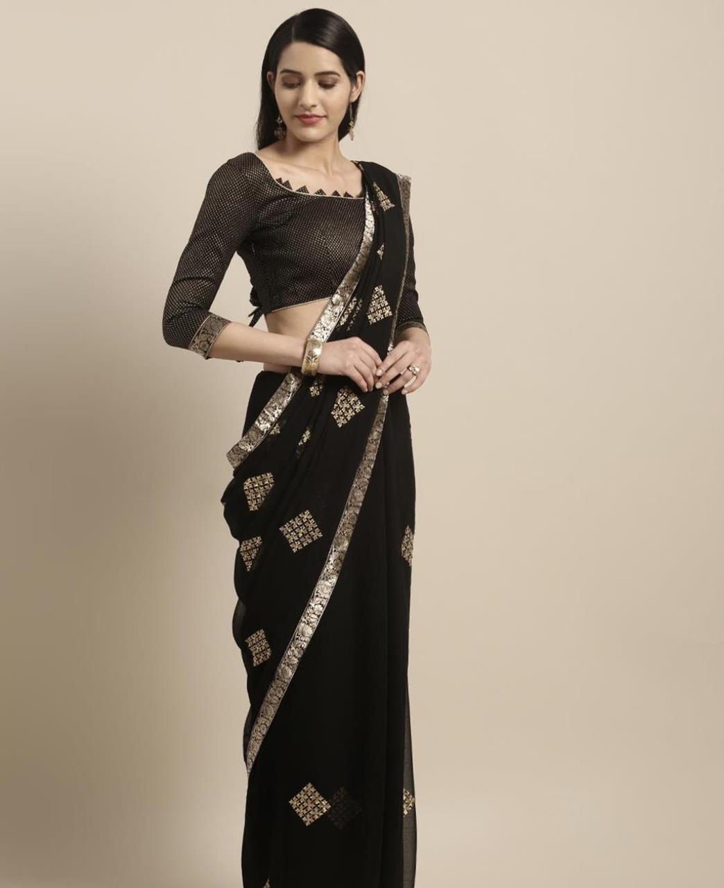 Embroidered Chiffon Saree (Sari) in  Black