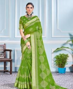Printed Cotton Saree in Mahendi