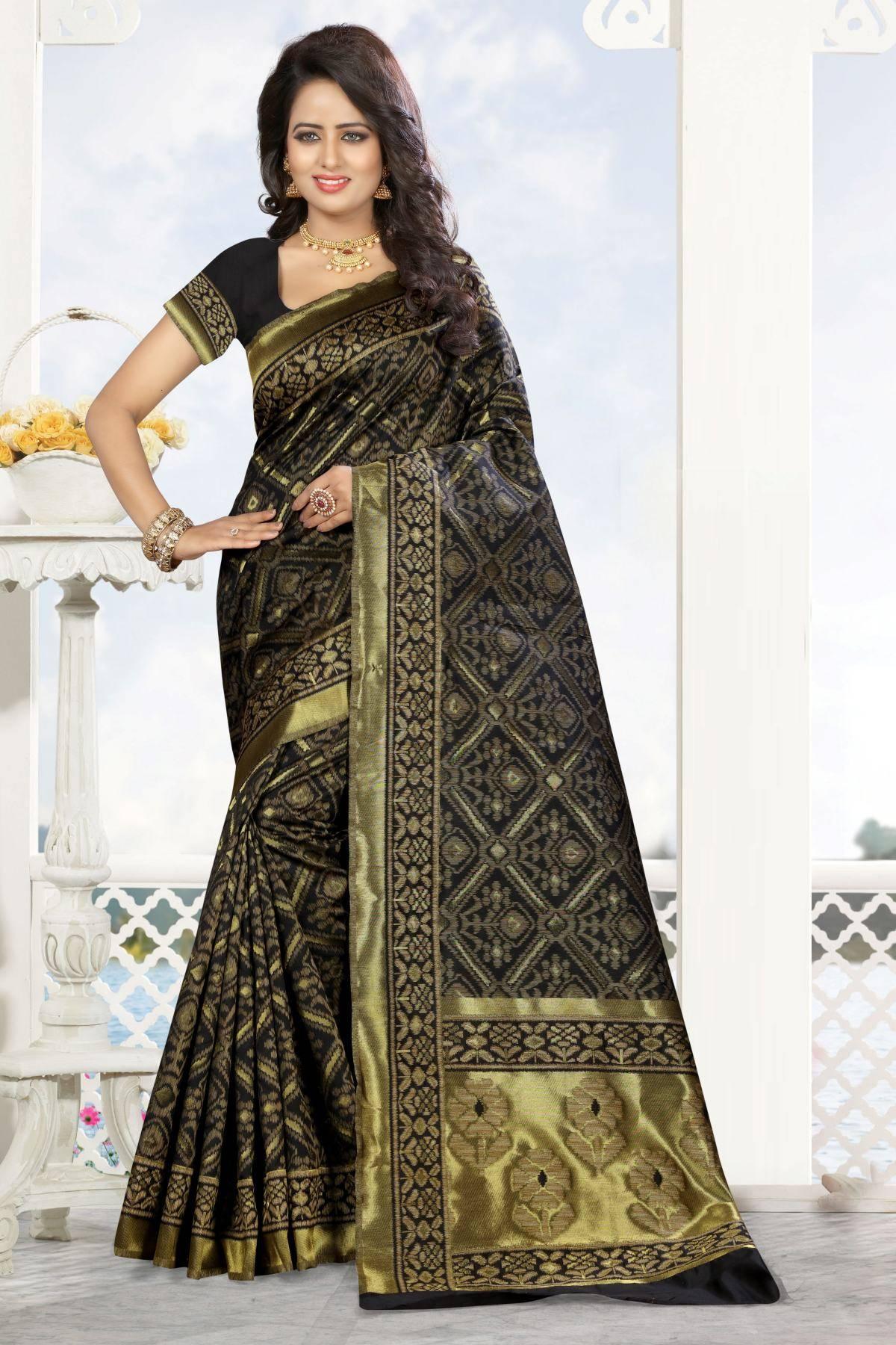 Zari Art Silk Saree (sari) in Black