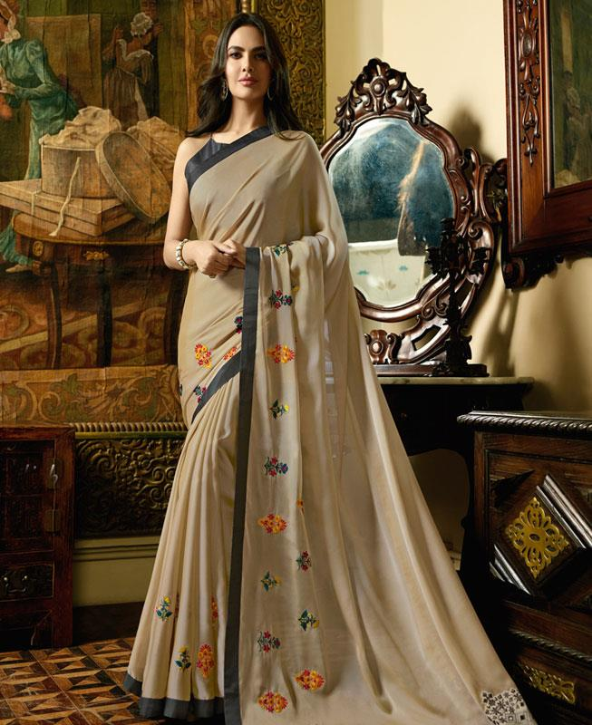 Embroidered Satin Saree in Beige