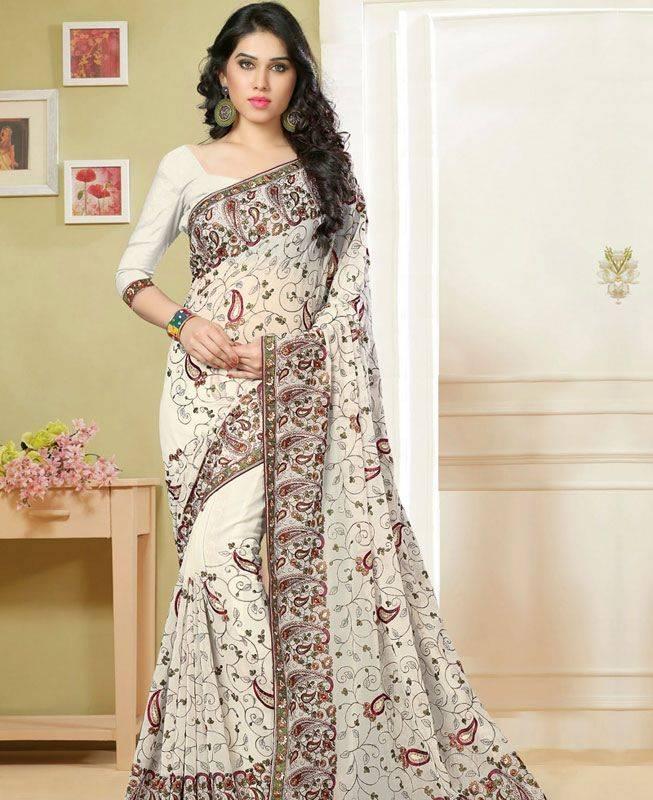 Butta Work Georgette Saree (Sari) in White