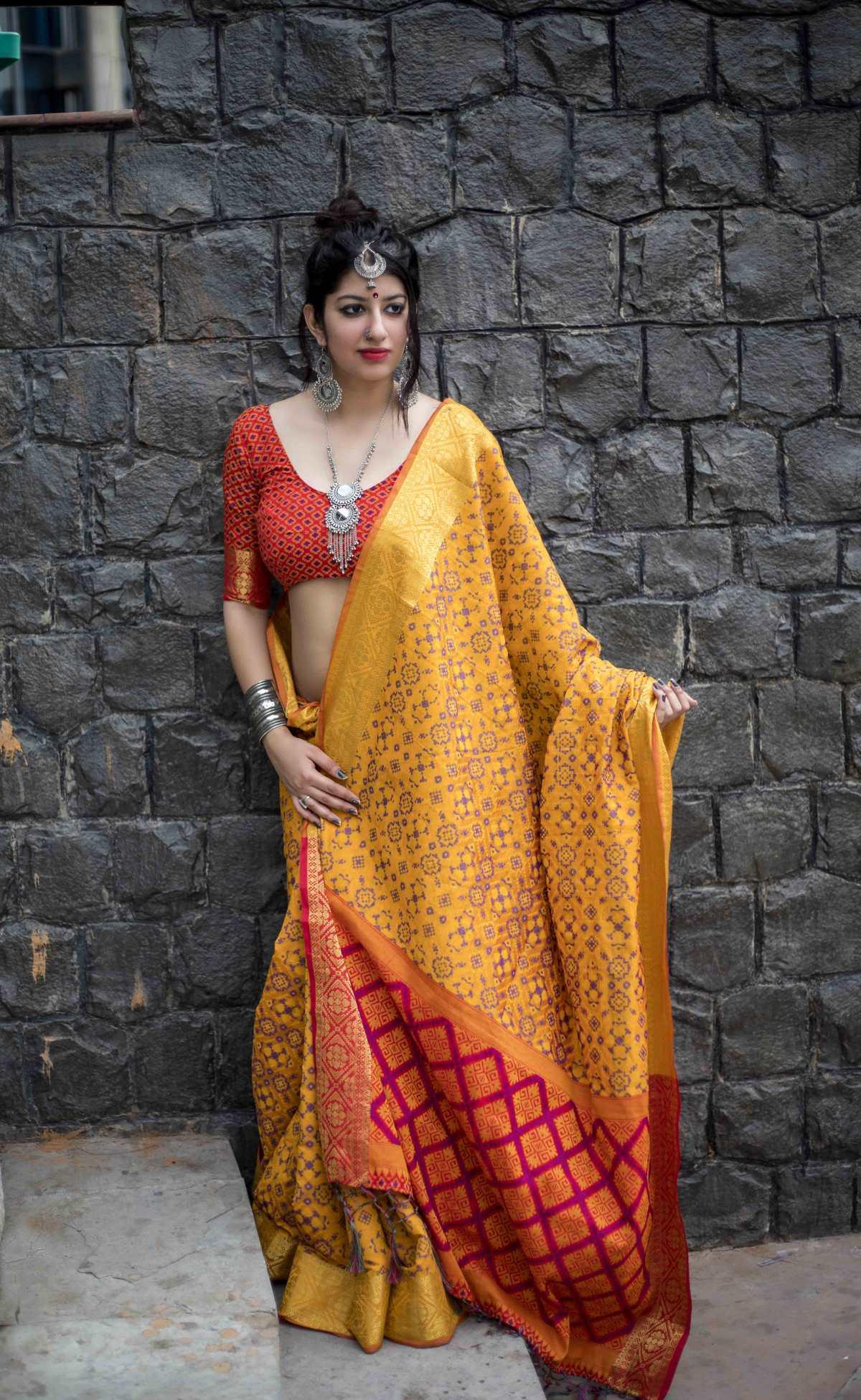 Woven Silk Saree (Sari) in Yellow