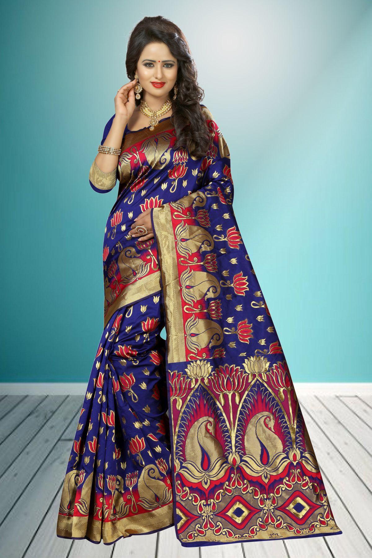 Jacquard Art Silk Saree in Blue