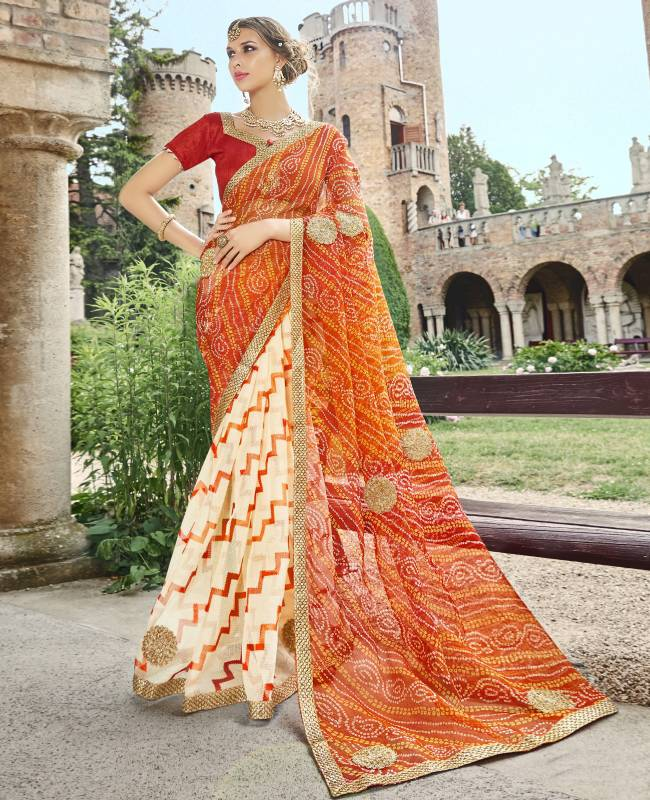 Bandhej Printed Supernet Saree (Sari) in OffWhite