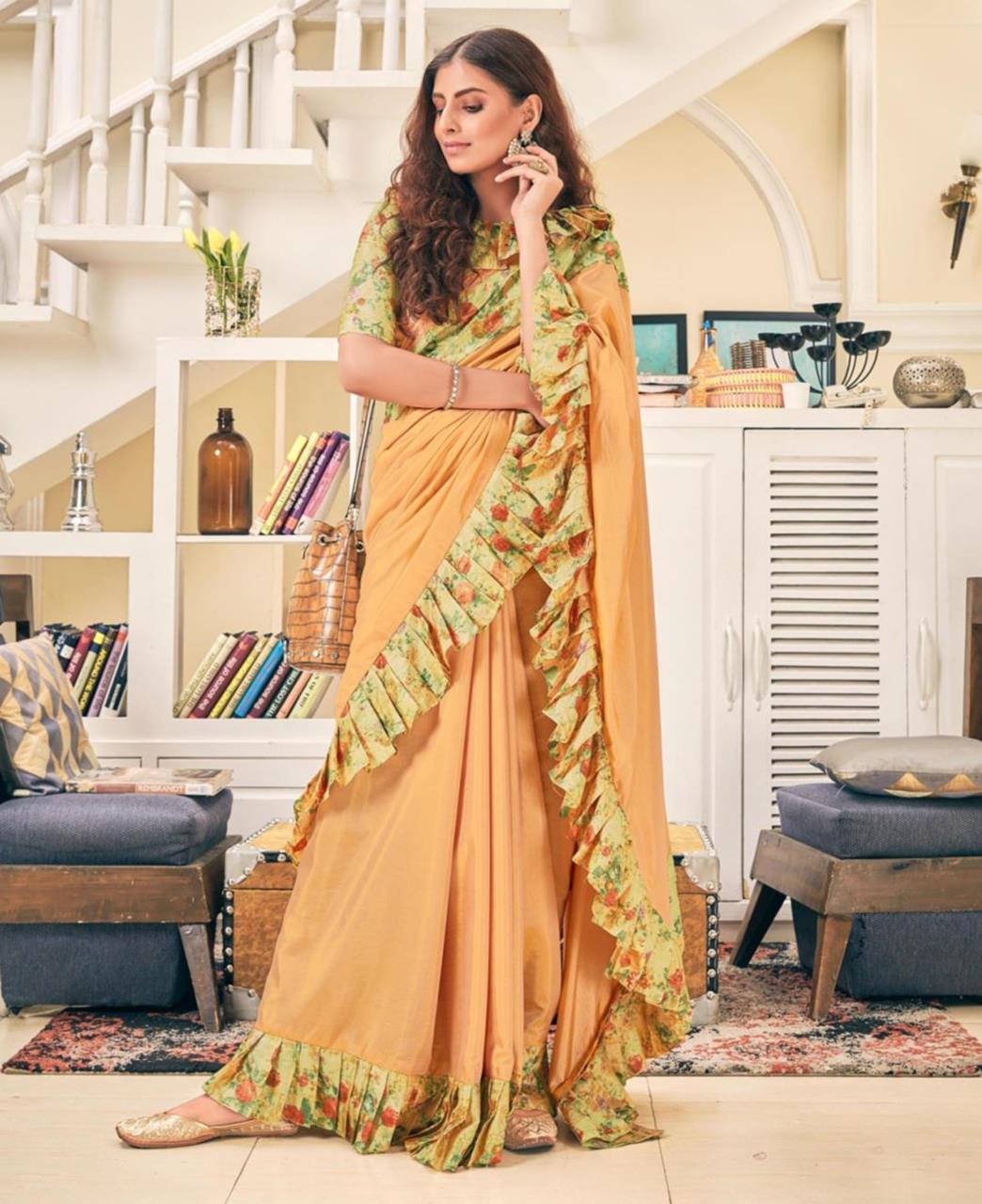 Printed Silk Saree (Sari) in Gold