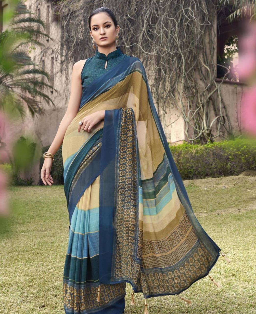 Printed Georgette Saree in Blue  ,  Yellow