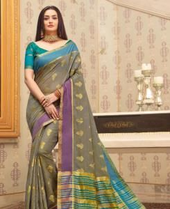 HandWorked Cotton Saree in Grey
