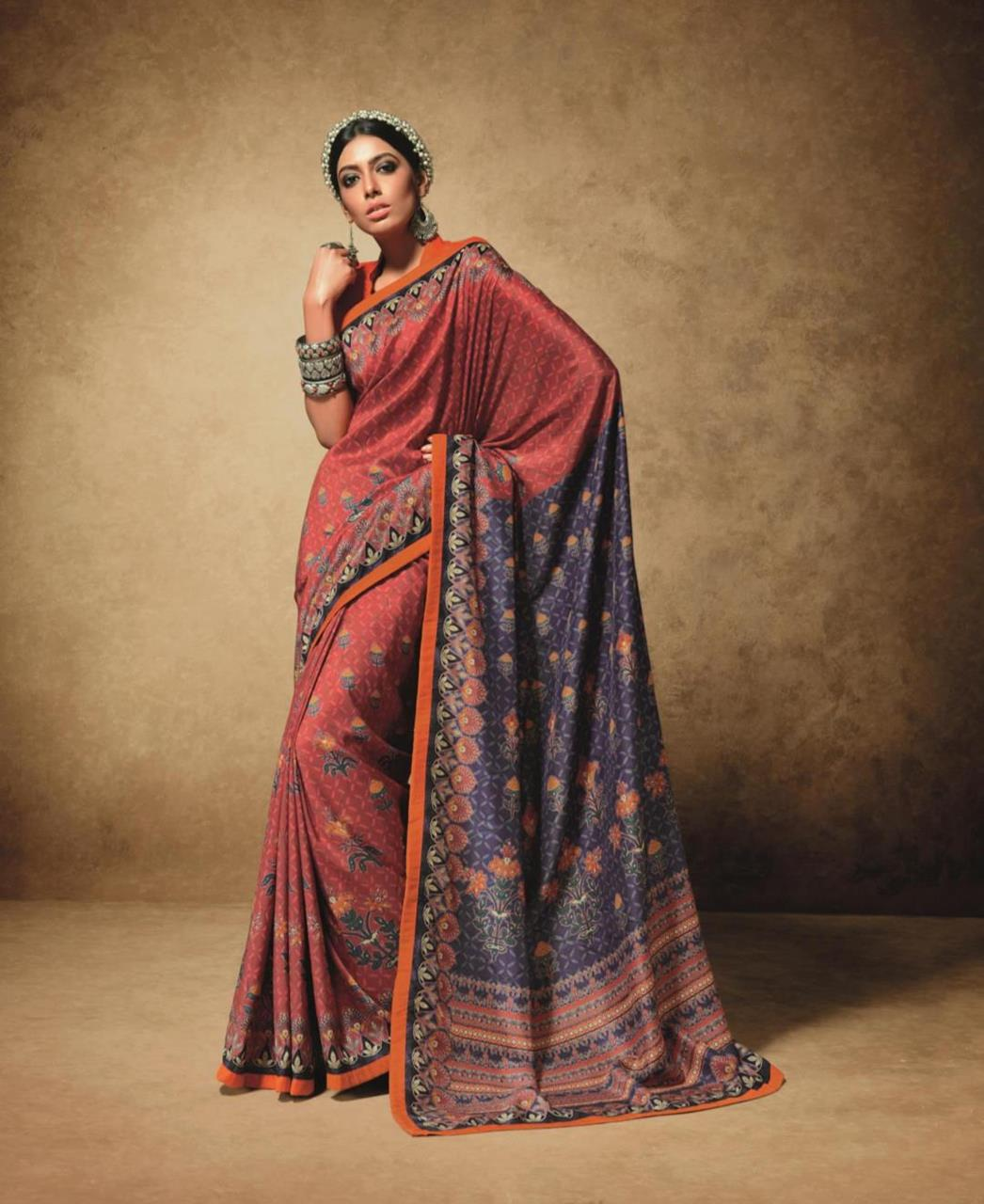 1da133b5211 Printed Art Silk Saree (Sari) in Red