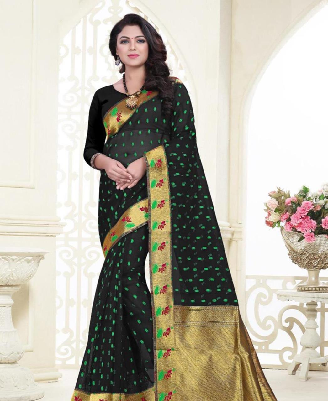 Printed Banarasi Silk Saree (Sari) in Black