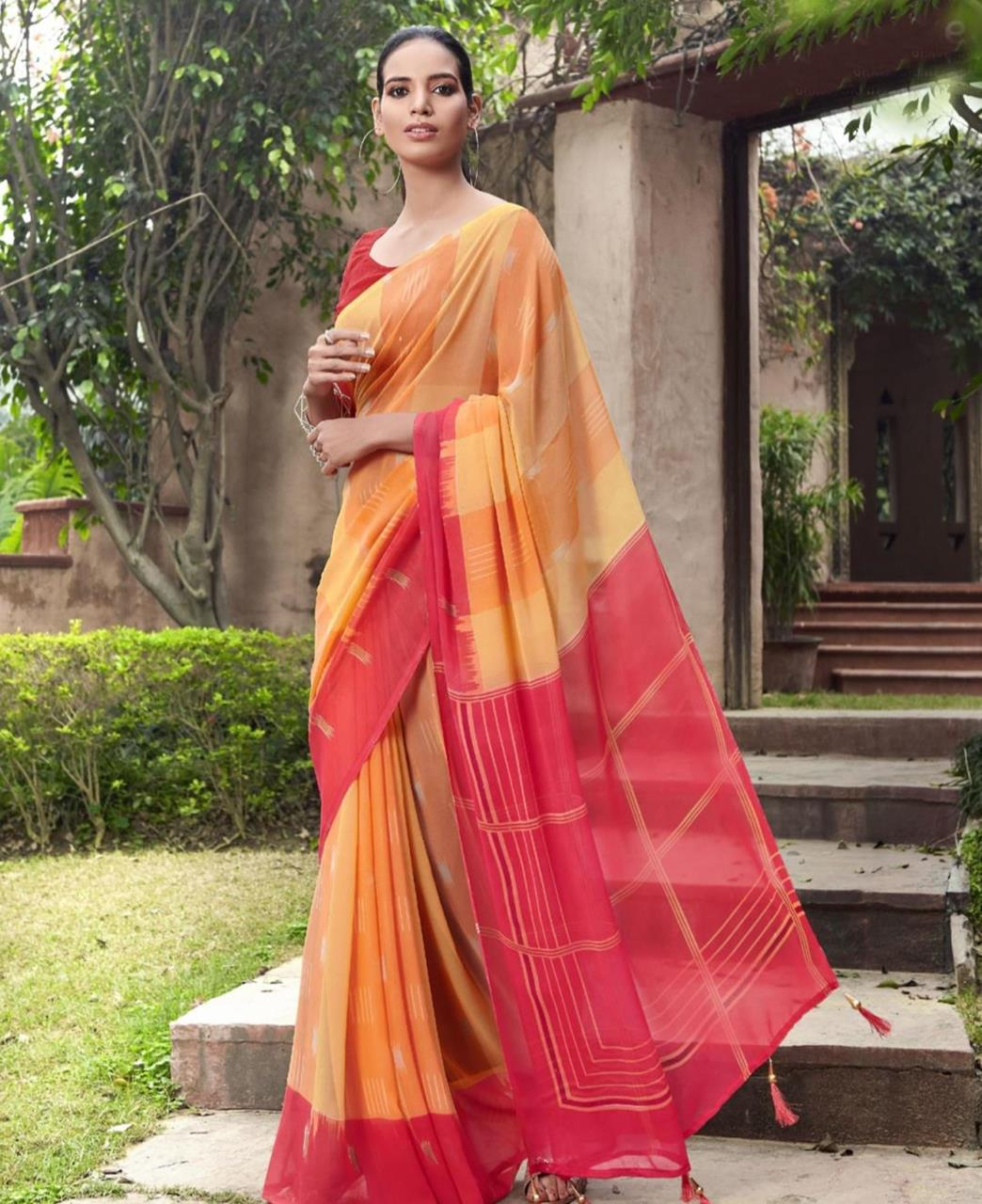 Printed Georgette Saree in Yellow  ,  Pink