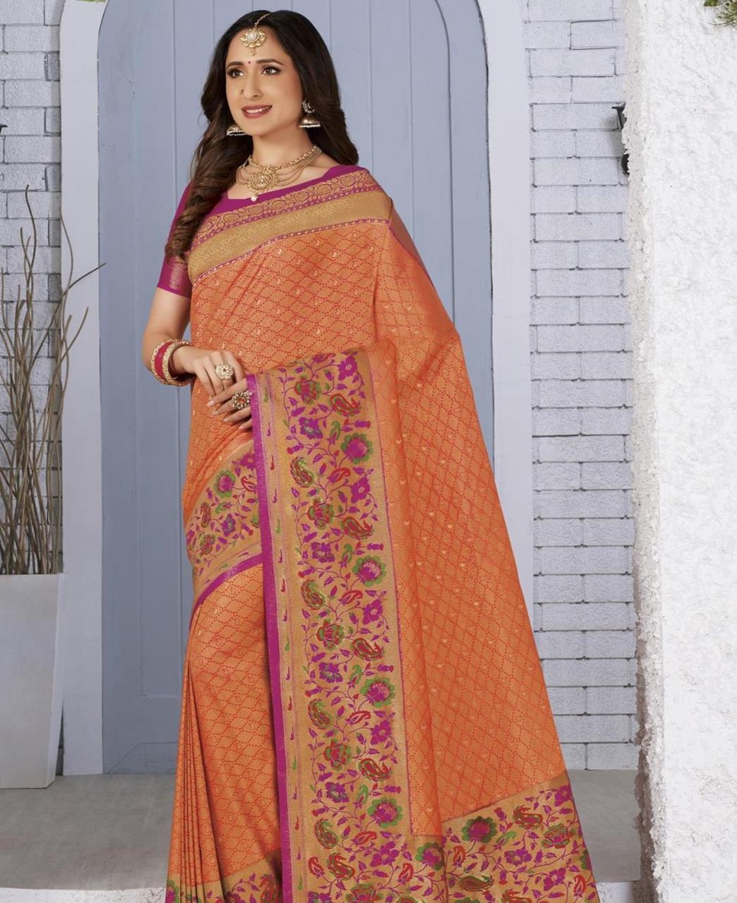 Silk Saree in Orange