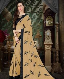 Embroidered Georgette Saree (Sari) in Beige