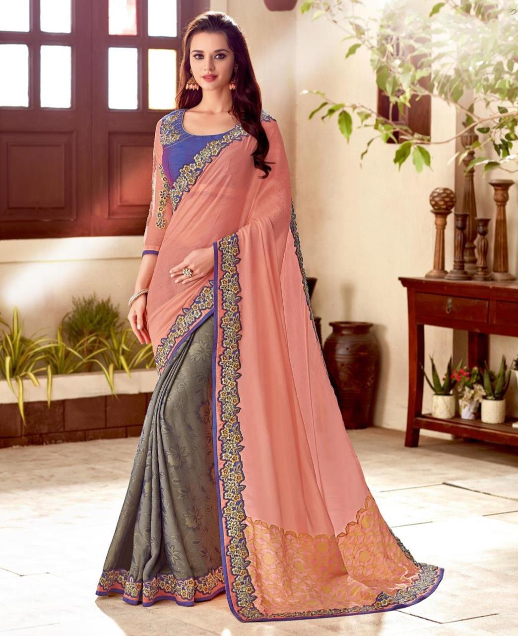 Thread Work Silk Saree (Sari) in Gray