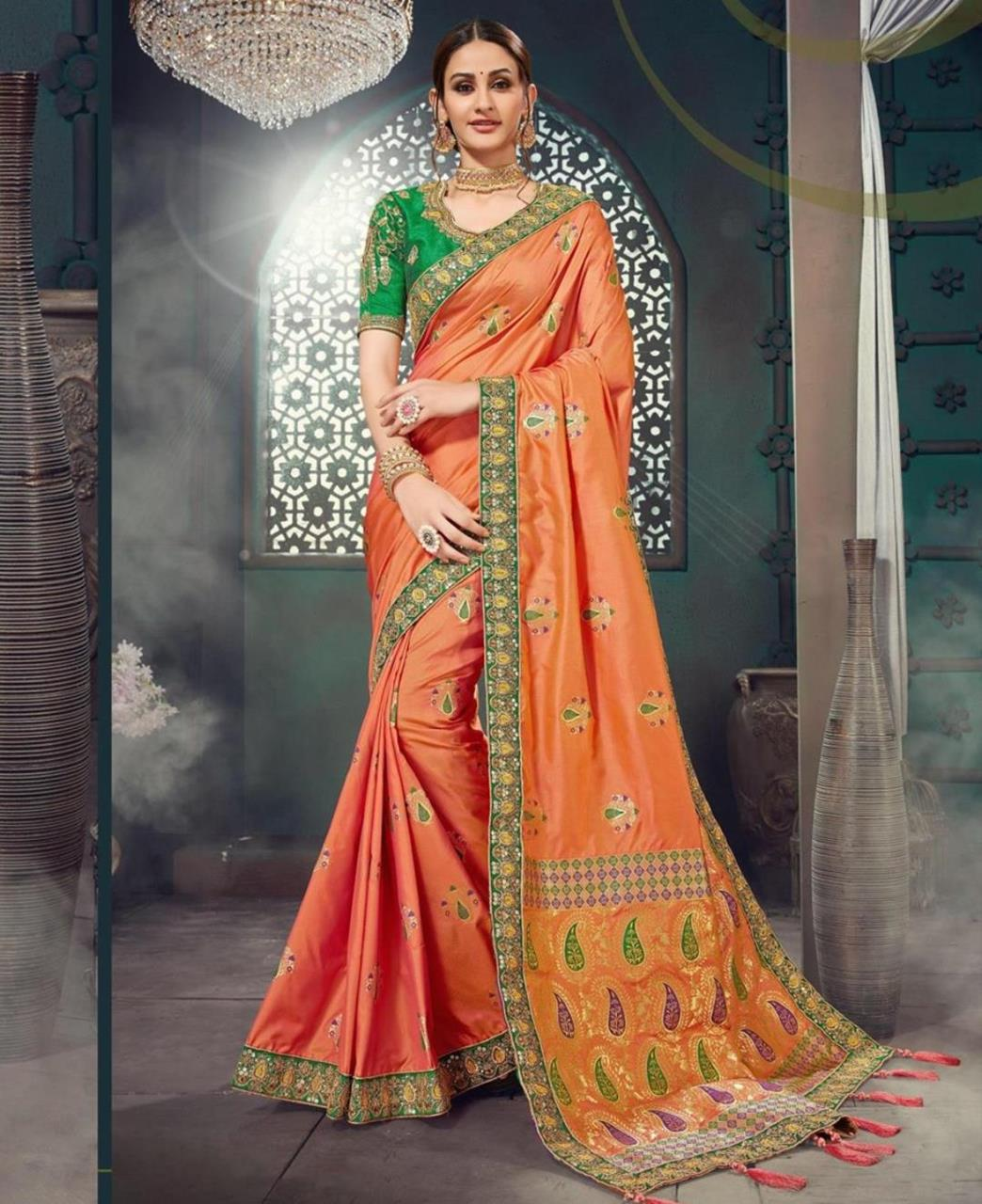Embroidered Jacquard Saree (Sari) in Orange