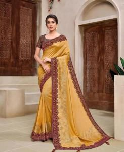Lace Georgette Saree in Yellow