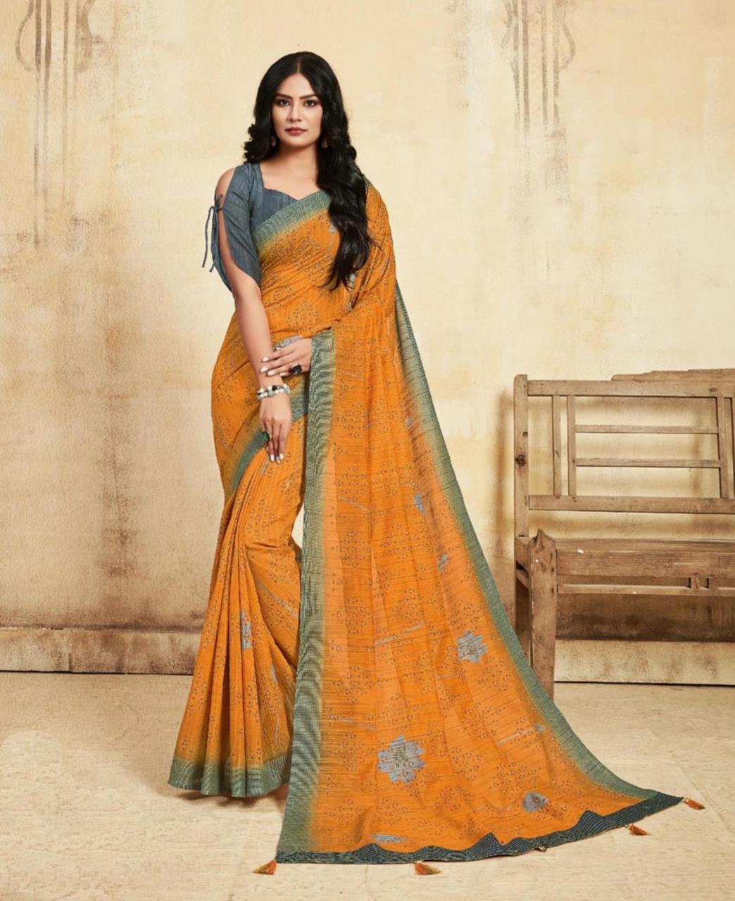Printed Silk Saree in Orange