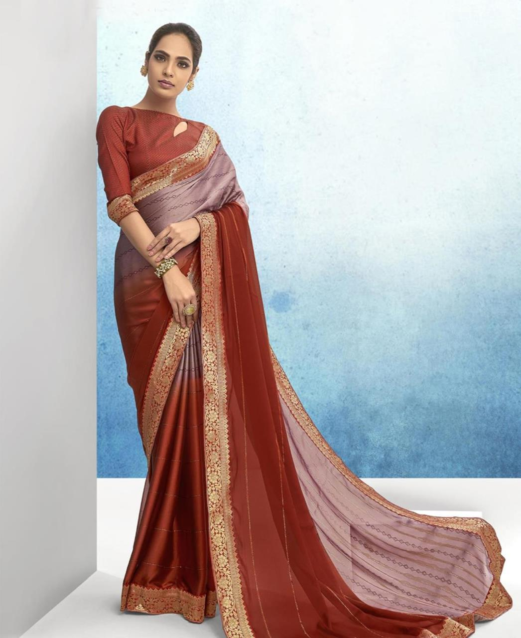Lace Chiffon Saree in Rust