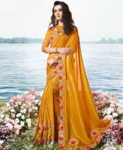 Embroidered Satin Saree in Yellow