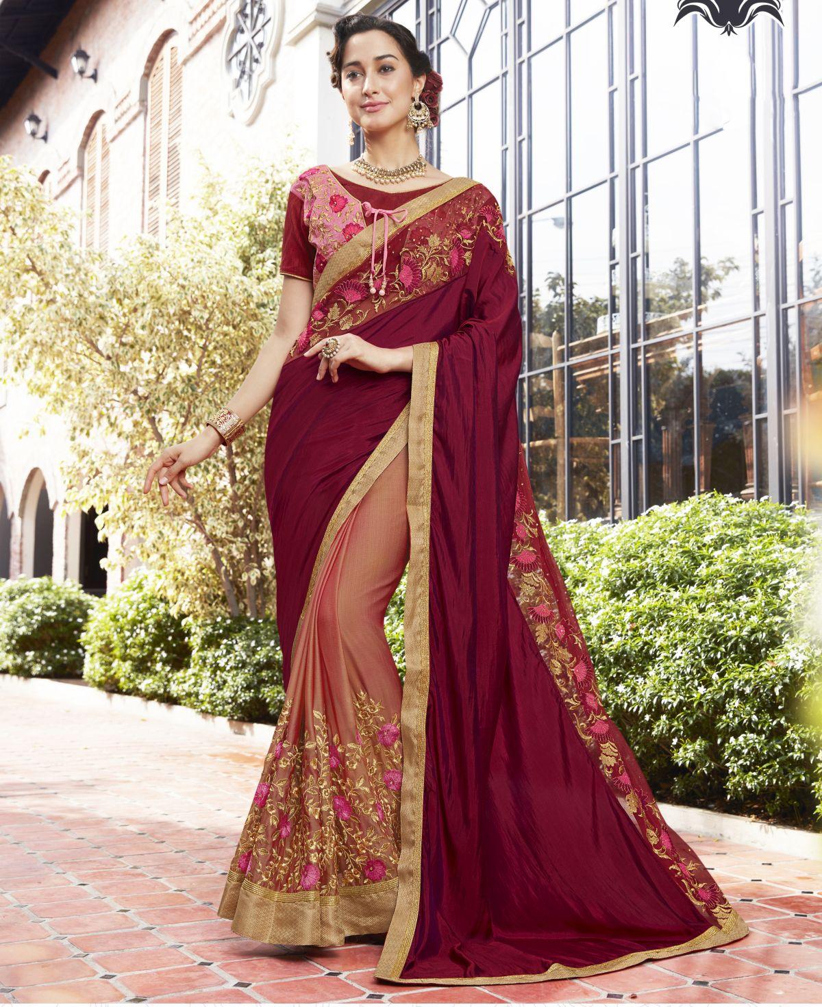 Embroidered Silk Saree in Magenta