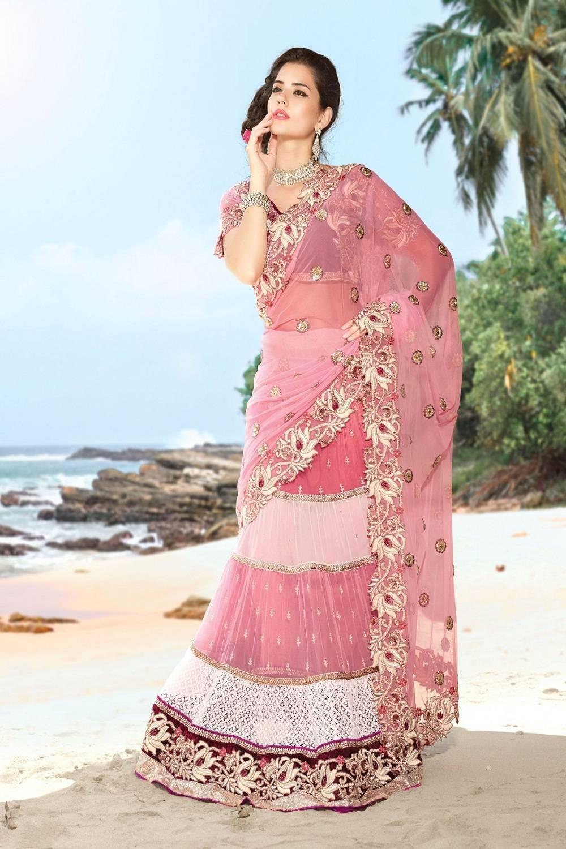 Embroidered Net Saree (Sari) in Pink