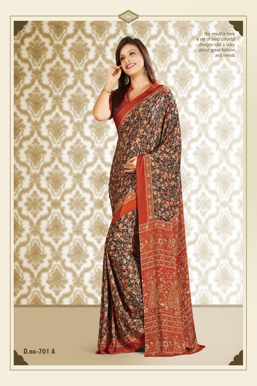 Printed Crape Saree (Sari) in Black