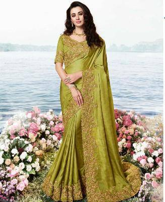 Embroidered Satin Saree in OLIVE