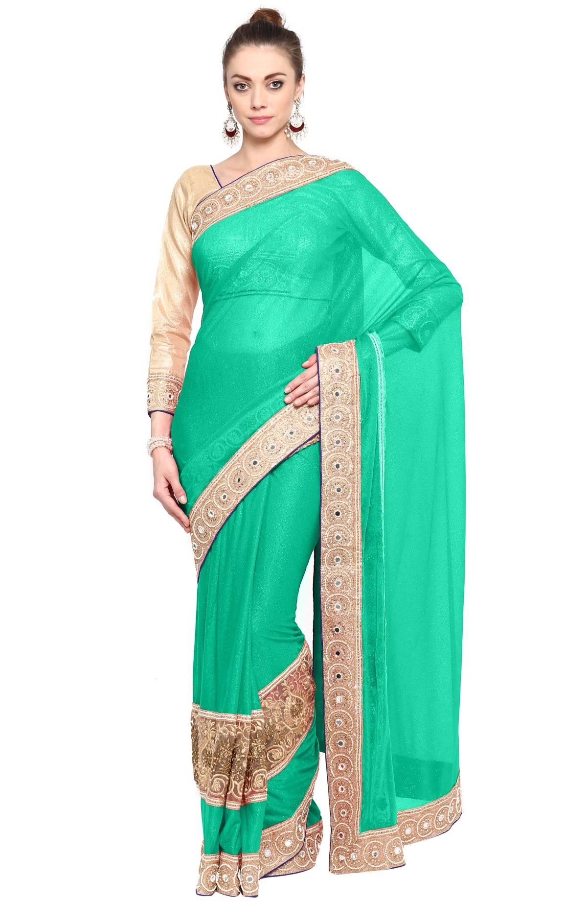 Embellishments Lycra Saree (Sari) in Green