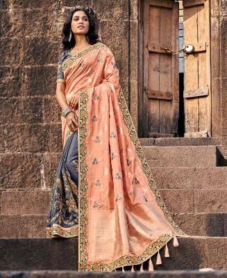 Jacquard Silk Saree in Orange