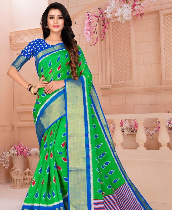 Cotton Saree in Green