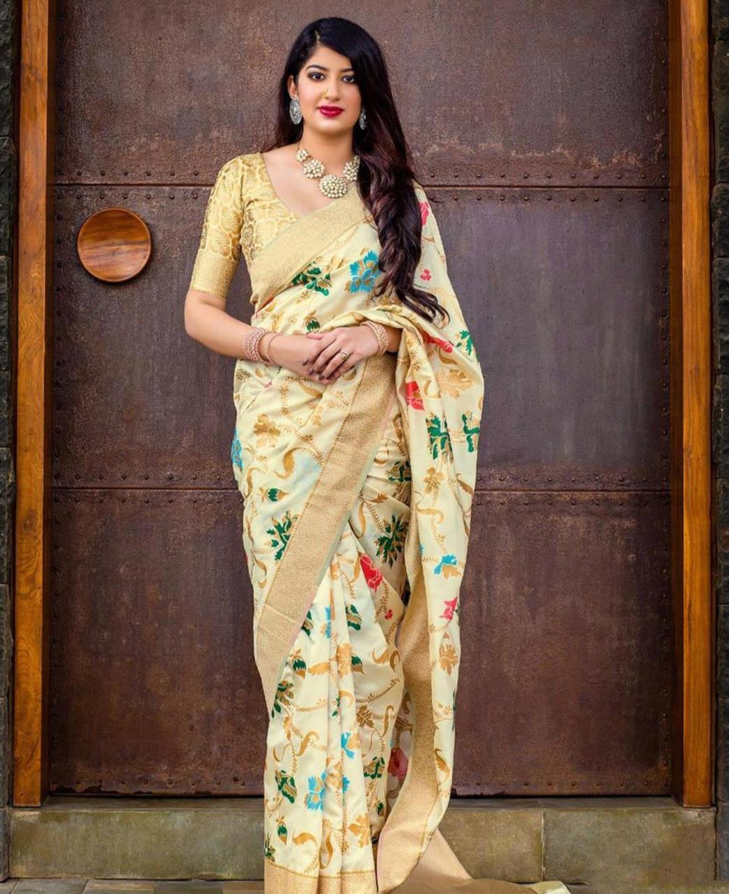 Printed Banarasi Silk Saree (Sari) Beige