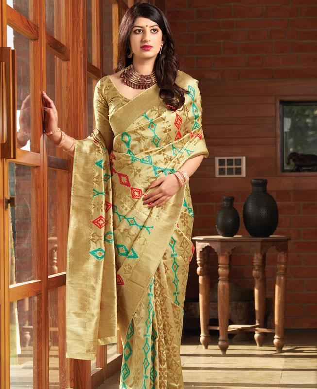 Woven Banarasi Silk Saree (Sari) in  Gold
