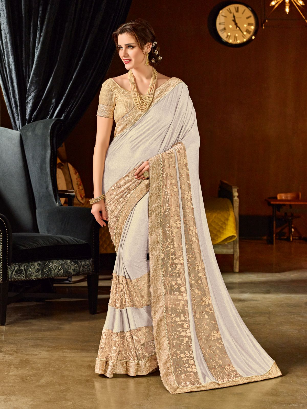 Embroidered Net Saree in White