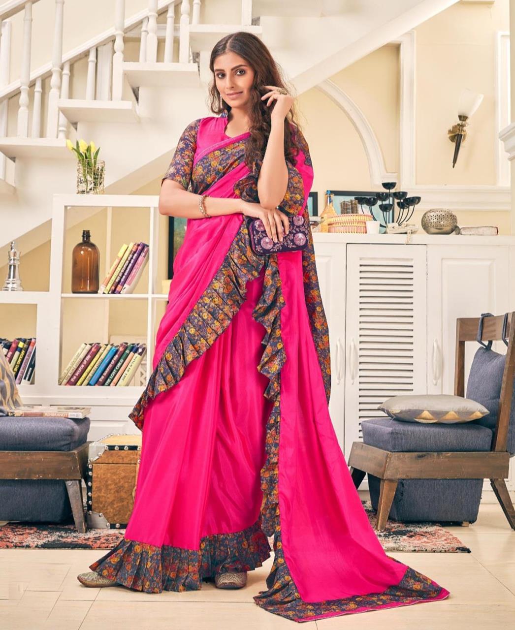 Printed Silk Saree (Sari) in Magenta