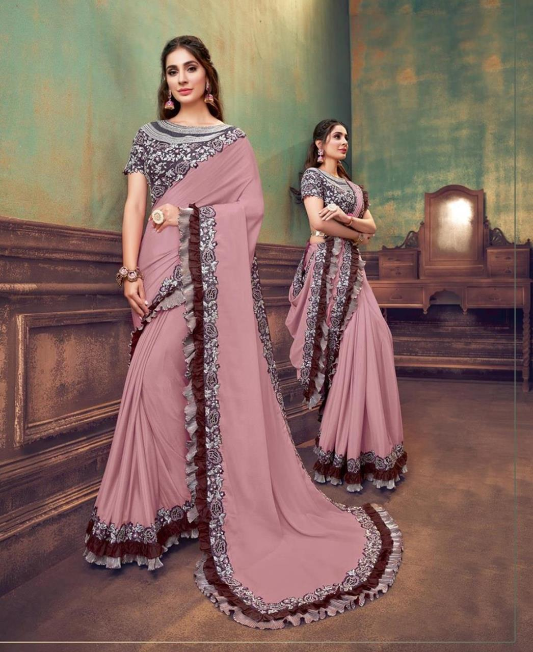 Sequins Silk Saree in Onion Pink