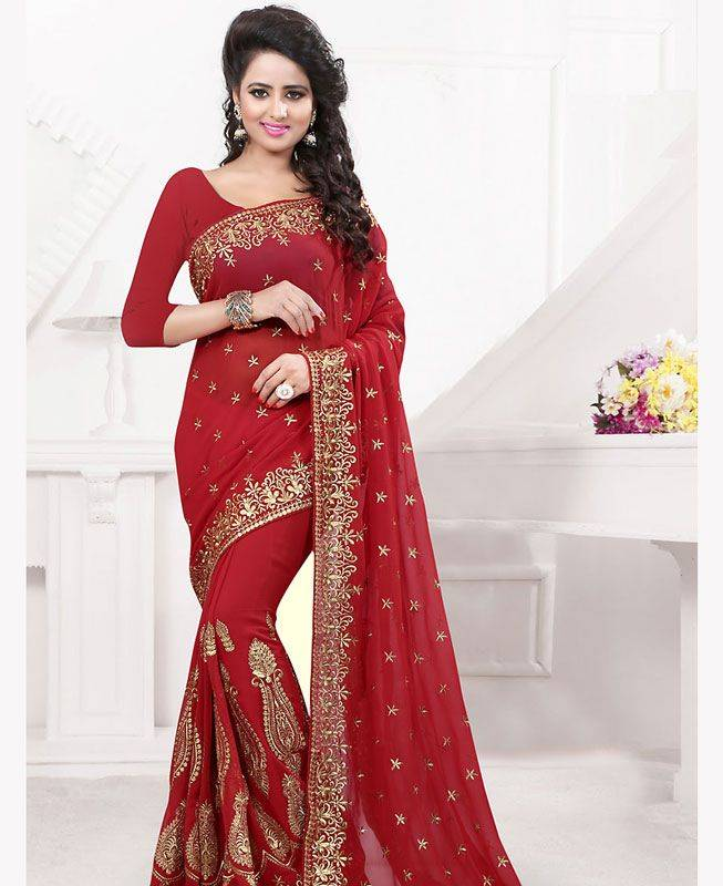 Butta Work Georgette Saree (Sari) in Red
