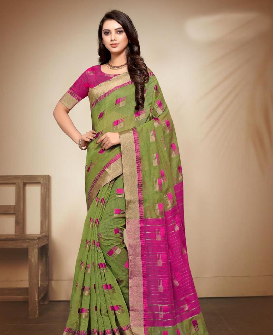 Cotton Saree in Green