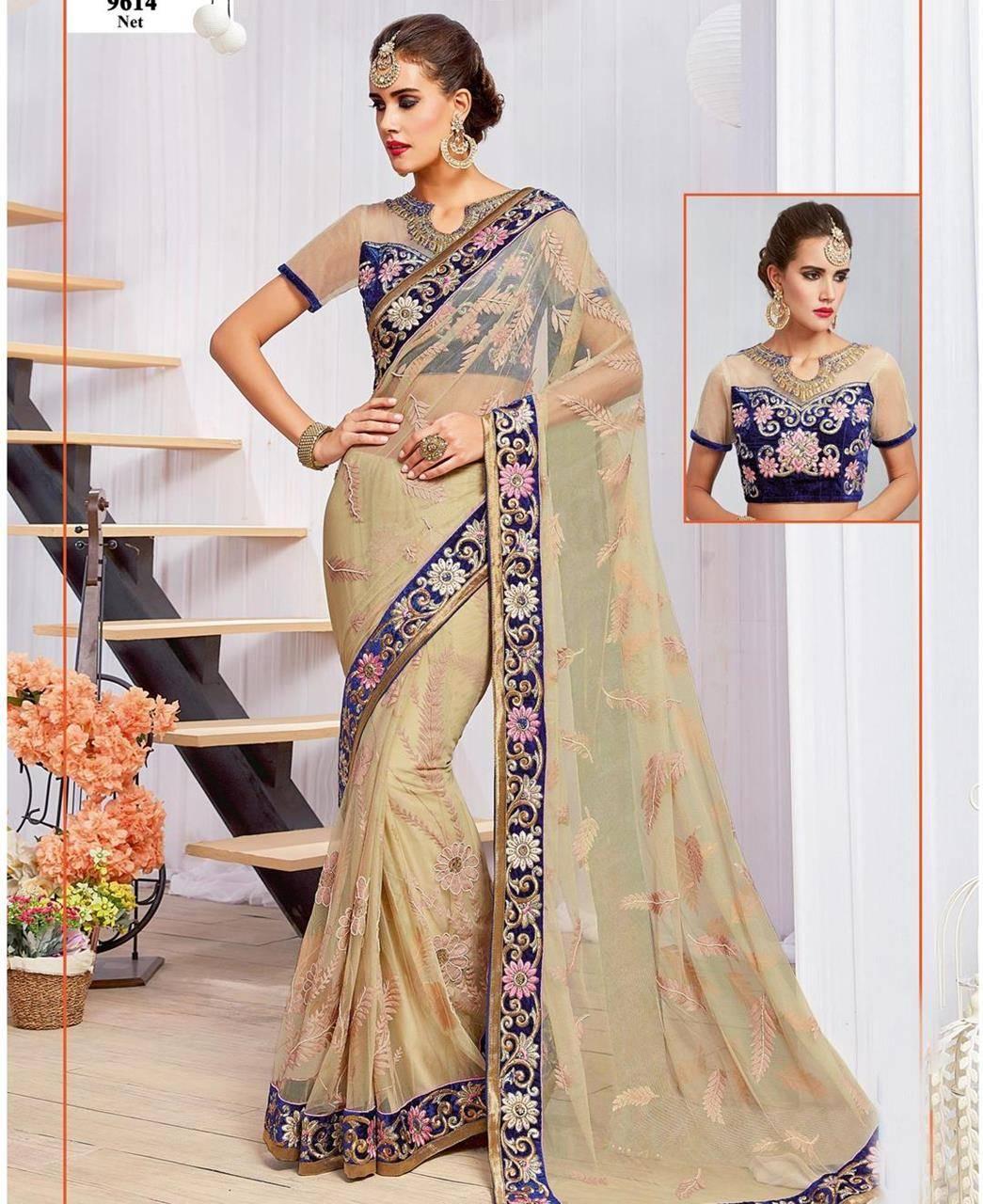 Thread Work Net Saree (Sari) in Cream